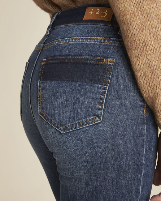 Molly navy slim-cut bi-colour jeans (2) - 1-2-3
