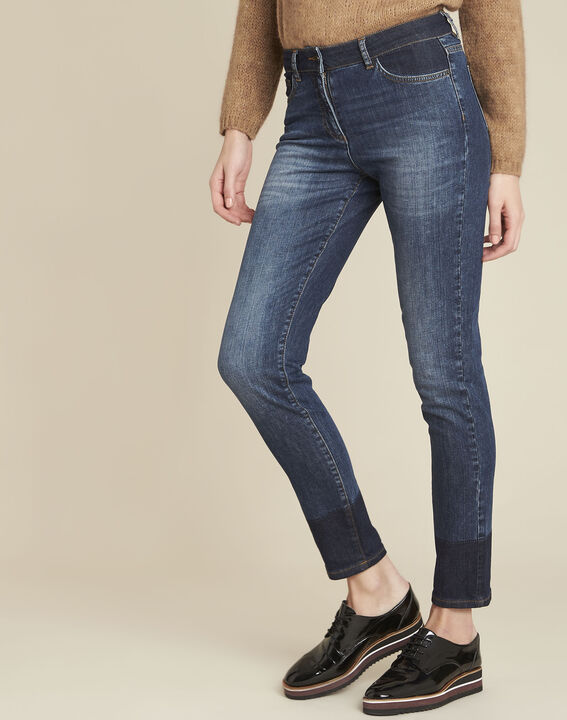 Molly navy slim-cut bi-colour jeans (1) - 1-2-3