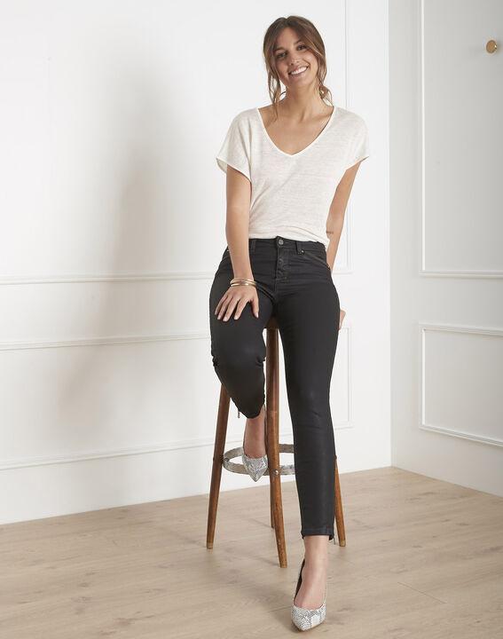 Opera 7/8 length coated black slim-cut jeans (4) - 1-2-3