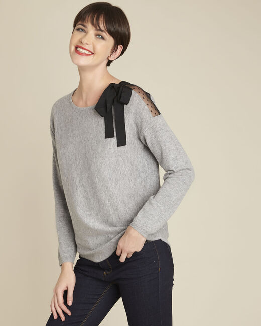 Blow grey lace pullover with wool knot (2) - 1-2-3