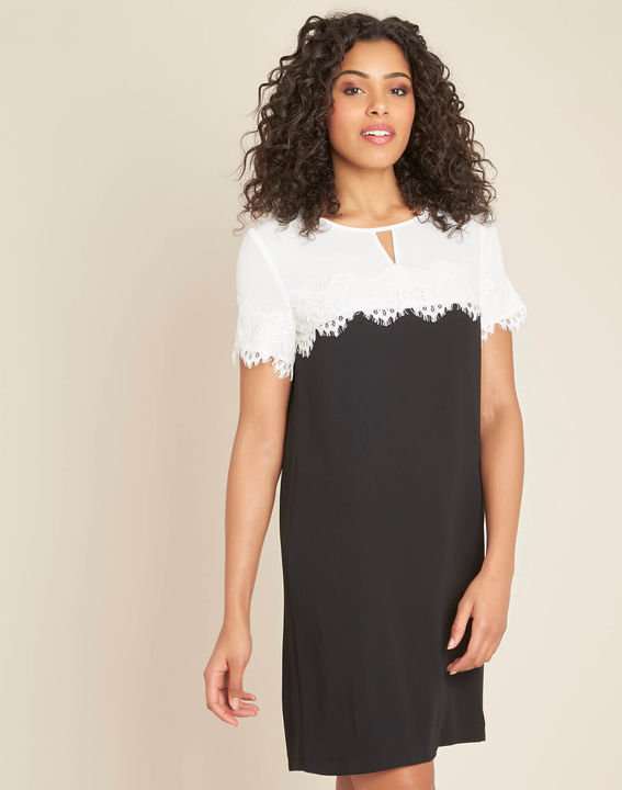 Illona black and white dress with lace neckline (1) - 1-2-3