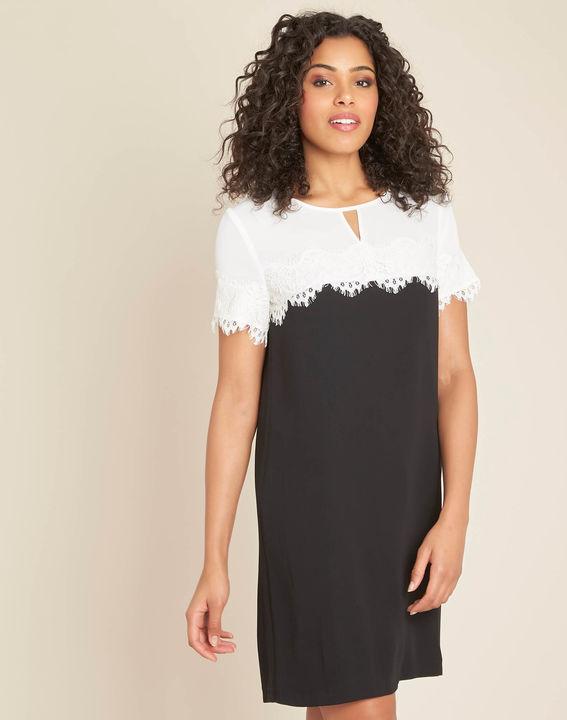 Robe noir   blanc encolure dentelle Illona (1) - 1-2-3 ... ddce82b0f94