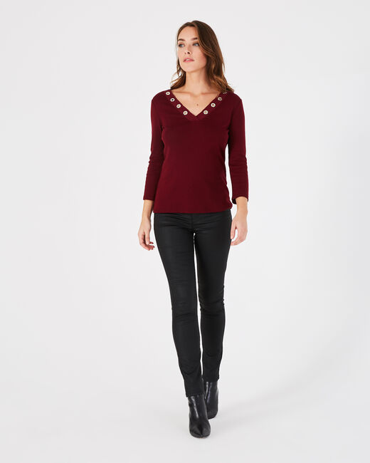 Tee-shirt rouge col V à oeillets Basic (2) - 1-2-3