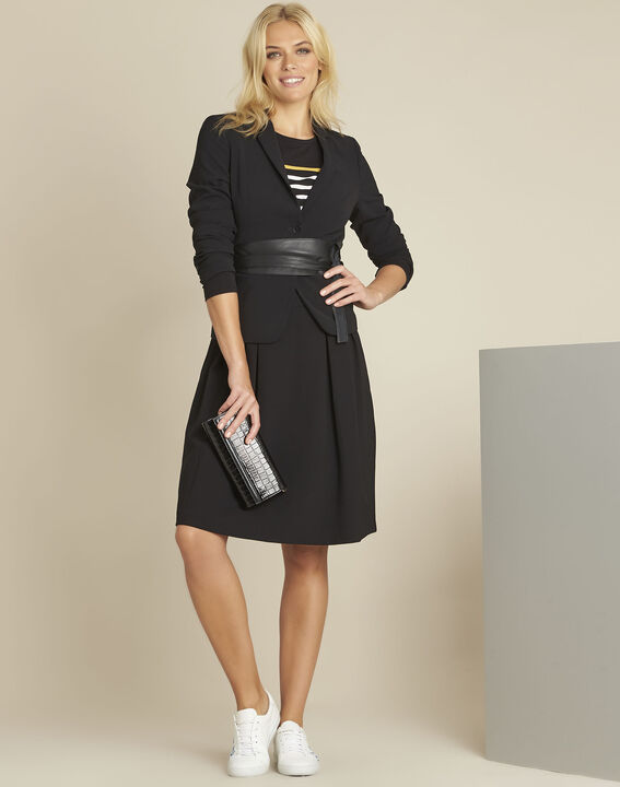 Eve black belted jacket in microfibre (2) - 1-2-3