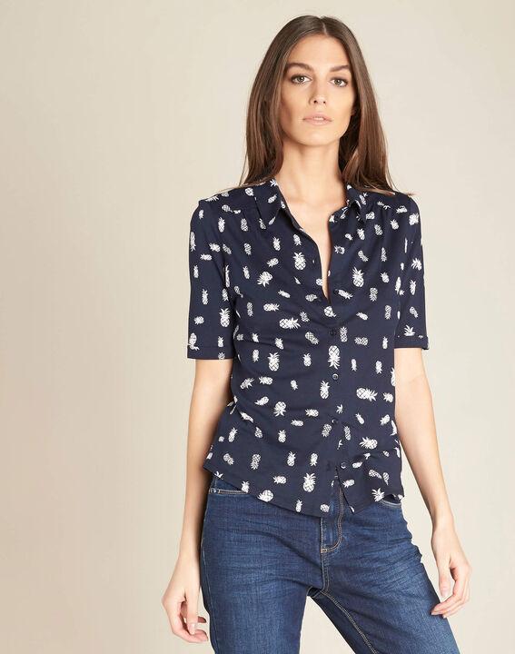 Tee-shirt marine imprimé Ananas Enanas (3) - 1-2-3