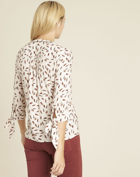 Cynthia nude blouse with feather print (4) - 1-2-3