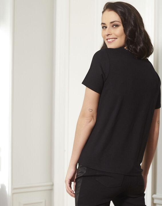Tee-shirt noir brodé à sequins Grazie (4) - Maison 123