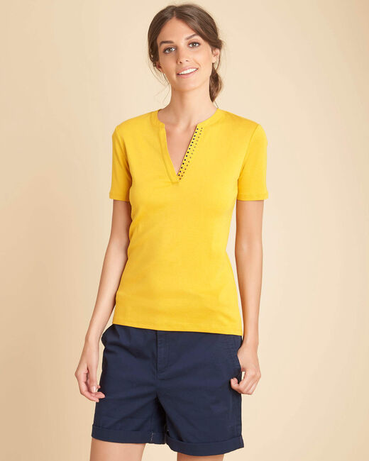 Tee-shirt jaune col mao studs Episod (2) - 1-2-3