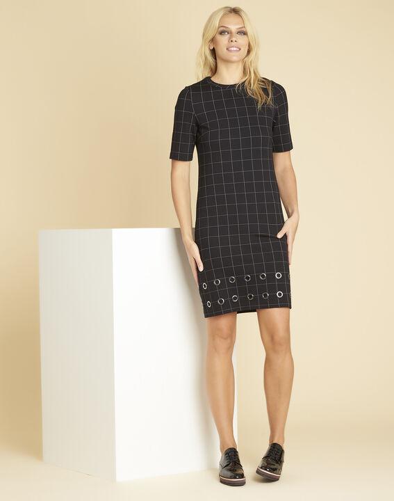 Schwarzes Karo-Kleid mit Ösen Davina (3) - 1-2-3