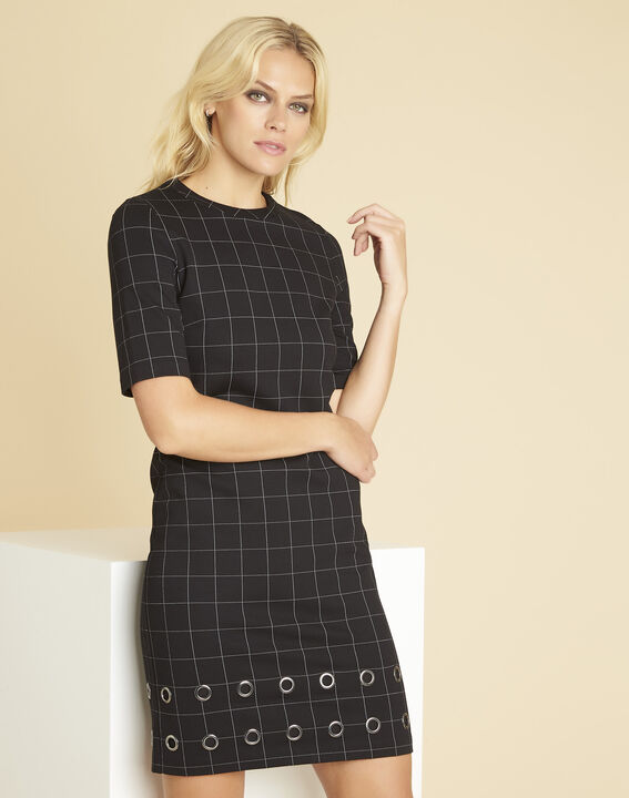 Davina black check dress with eyelets (1) - 1-2-3