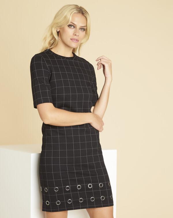 Zwarte jurk met ruiten en vetergaten Davina (1) - 37653