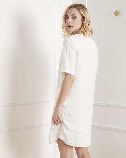 Wonderbaarlijk Crème jurk van linnen Loanne - Maison Cent Vingt-Trois YI-16