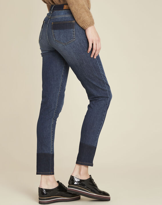 Marineblaue zweifarbige Slim Jeans Molly (4) - 1-2-3