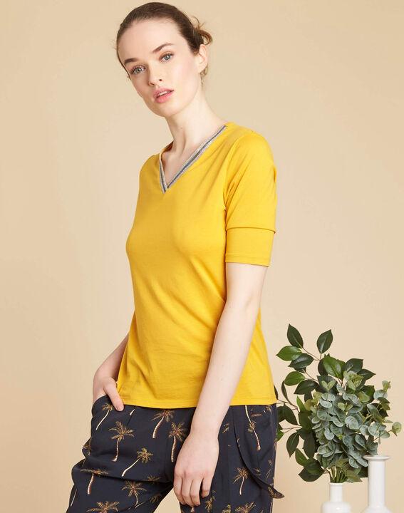Tee-shirt jaune encolure fantaisie Eshine (3) - 1-2-3