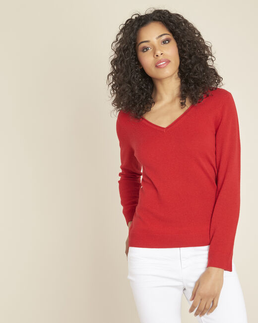 Pivoine red V-neck sweater in cashmere (1) - 1-2-3