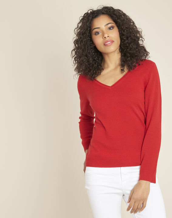 Pivoine red V-neck sweater in cashmere PhotoZ | 1-2-3