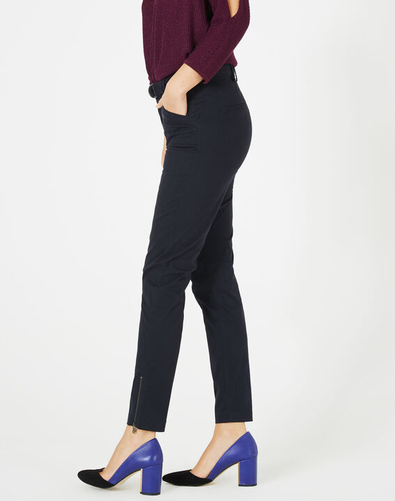Kloe navy blue 7/8 length trousers PhotoZ   1-2-3