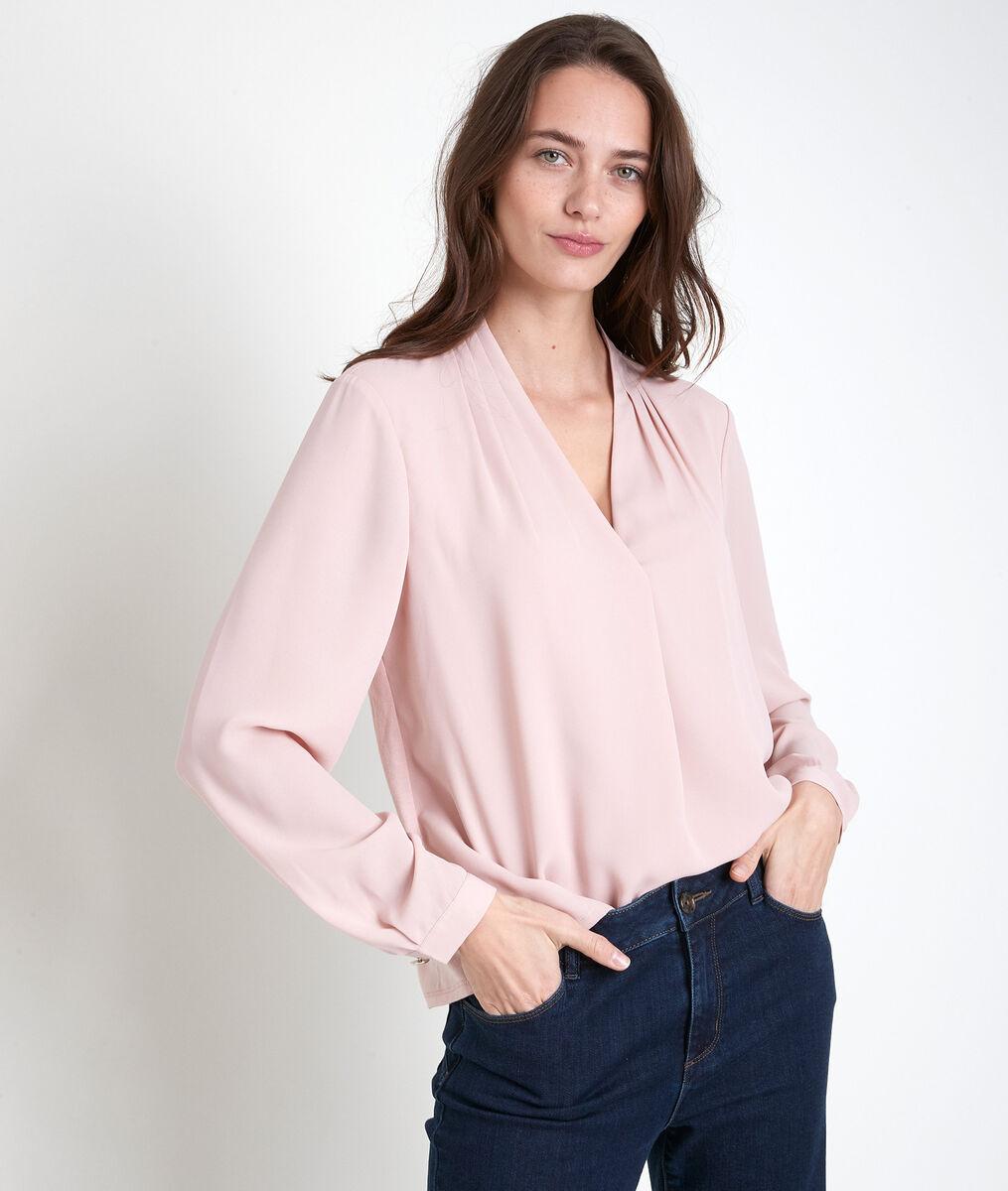 Roze blouse uit twee materialen Davina PhotoZ | 1-2-3