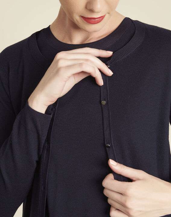 Bambou fine-knit navy cardigan (2) - 1-2-3