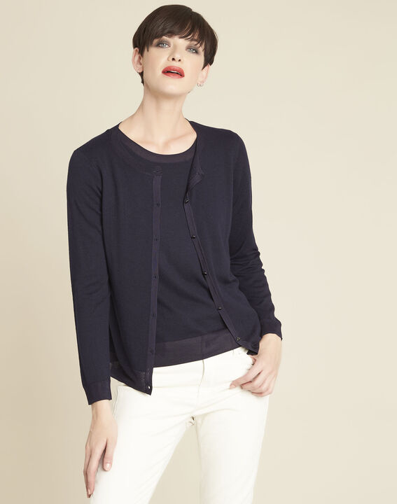 Bambou fine-knit navy cardigan PhotoZ | 1-2-3