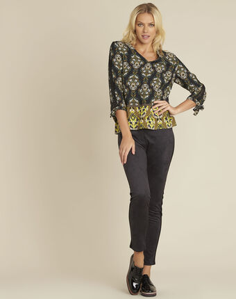Chams black floral print blouse black.