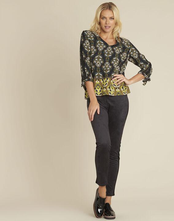 Chams black floral print blouse (2) - 1-2-3