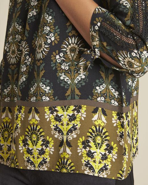 Schwarze Bluse mit Blumen-Druckmuster Chams (2) - 1-2-3