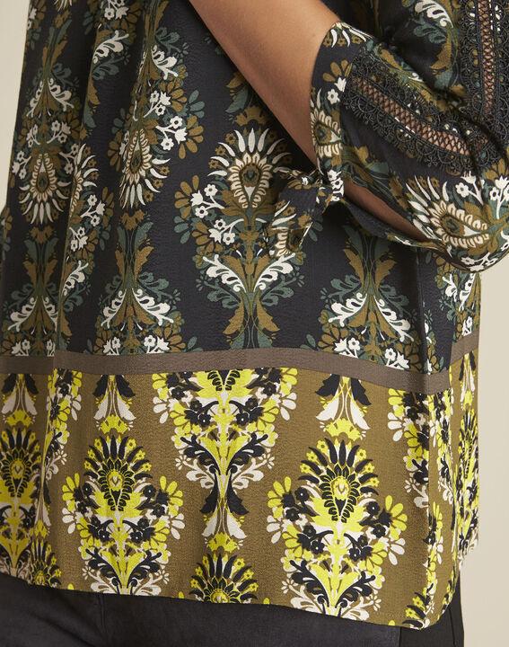 blouse noire imprimé fleuri Chams (3) - 1-2-3