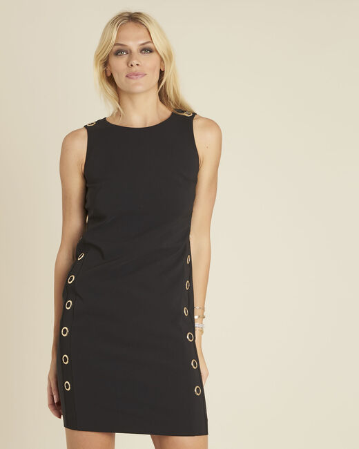 Dora straight-cut black dress with eyelets (2) - 1-2-3