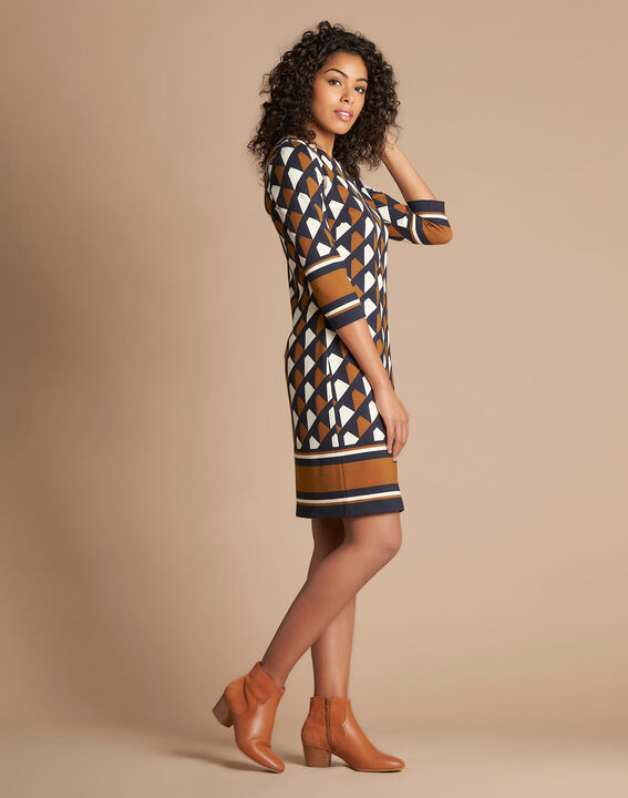 Camelfarbenes grafisches Kleid Delila (2) - 1-2-3
