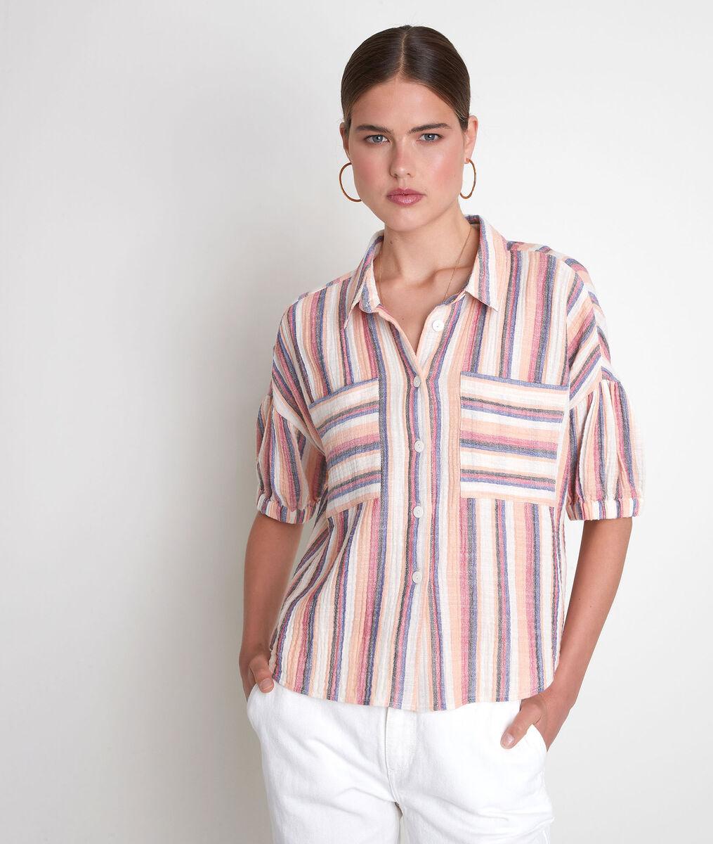 Pastelkleurig gestreept hemd met korte mouwen Arielle PhotoZ | 1-2-3