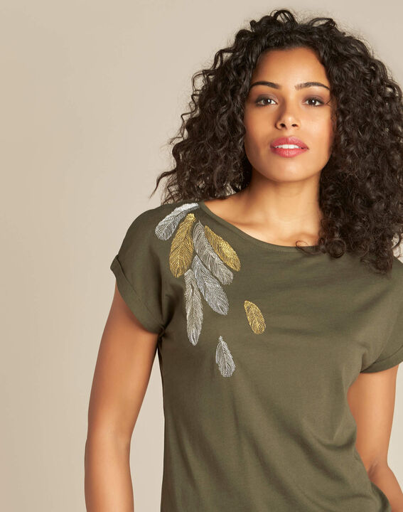 Epine khaki T-shirt with feather embroidery PhotoZ | 1-2-3