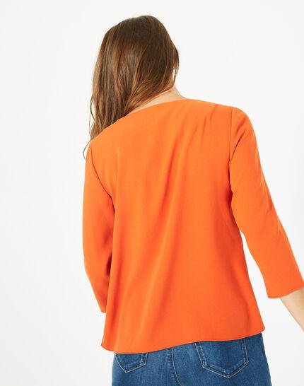 Blouse orange col V Domino (5) - 1-2-3