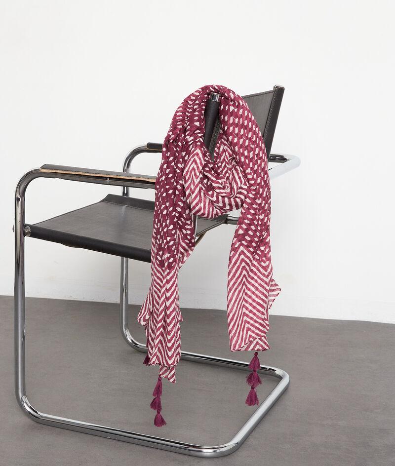Foulard en coton imprimé bordeaux Paolina PhotoZ | 1-2-3