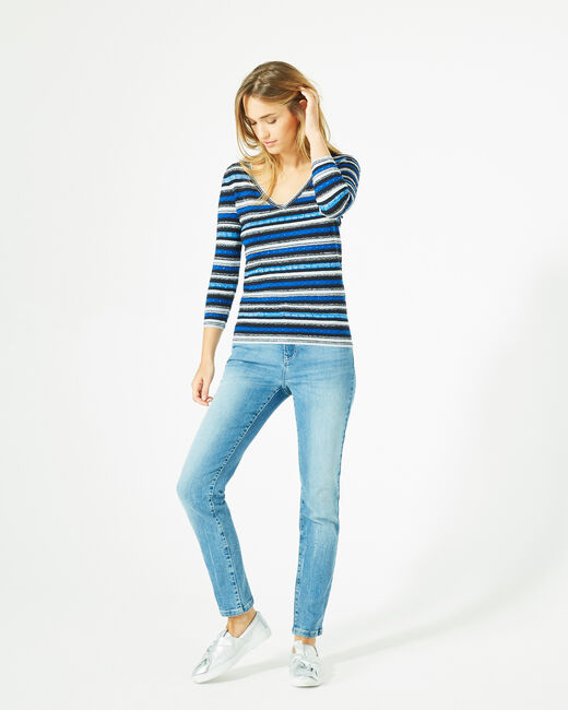 Portland striped blue sweater with rounded neckline (1) - 1-2-3