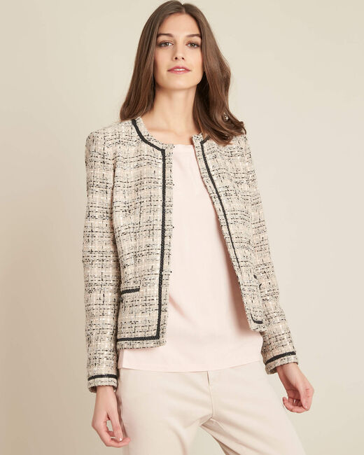 Cesar collarless beige tweed jacket (2) - 1-2-3