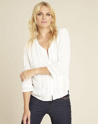 Cassandra ecru blouse with lace insert ecru.