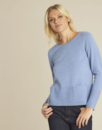 Brume azure blue cashmere pullover with pockets sky blue.