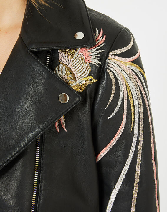 Habby black leather jacket with embroidered birds (4) - 1-2-3
