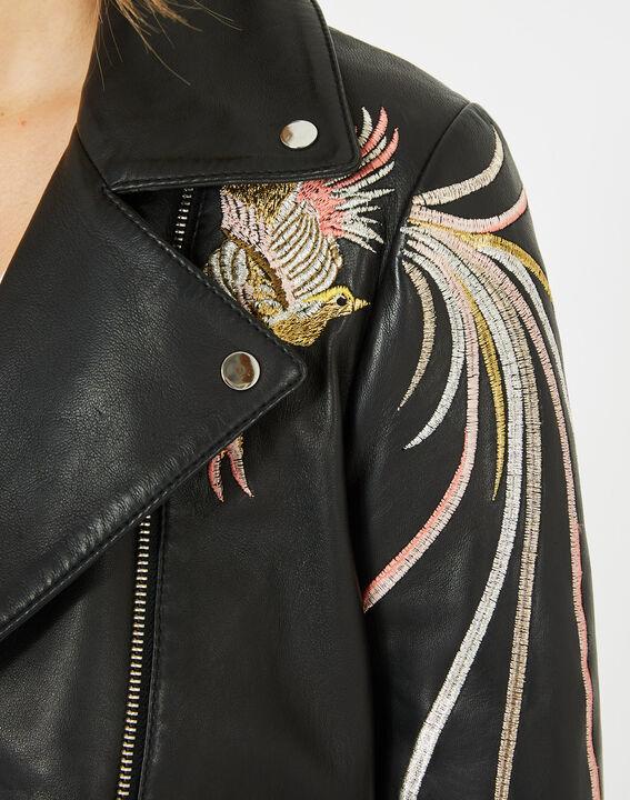 Blouson en cuir noir oiseaux brodés Habby (4) - 1-2-3