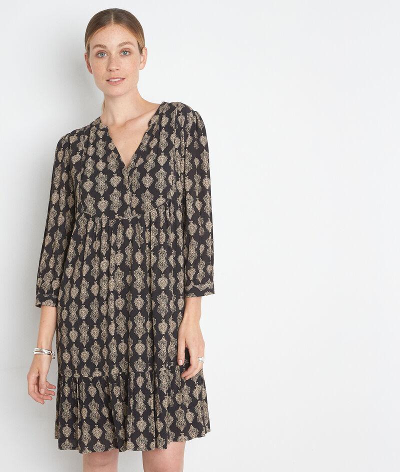 Robe courte imprimée noir et beige en viscose responsable Soleil PhotoZ | 1-2-3