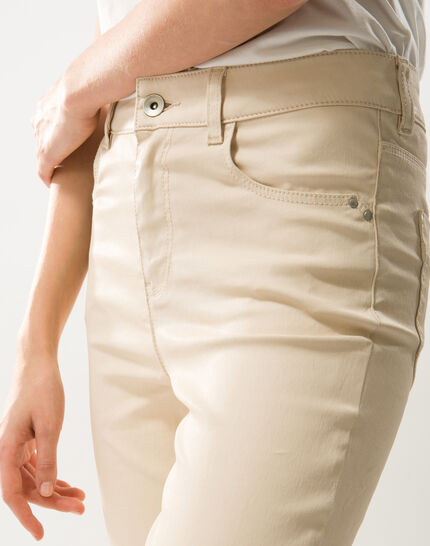 Oliver beige shiny coated 7/8 length trousers (4) - 1-2-3