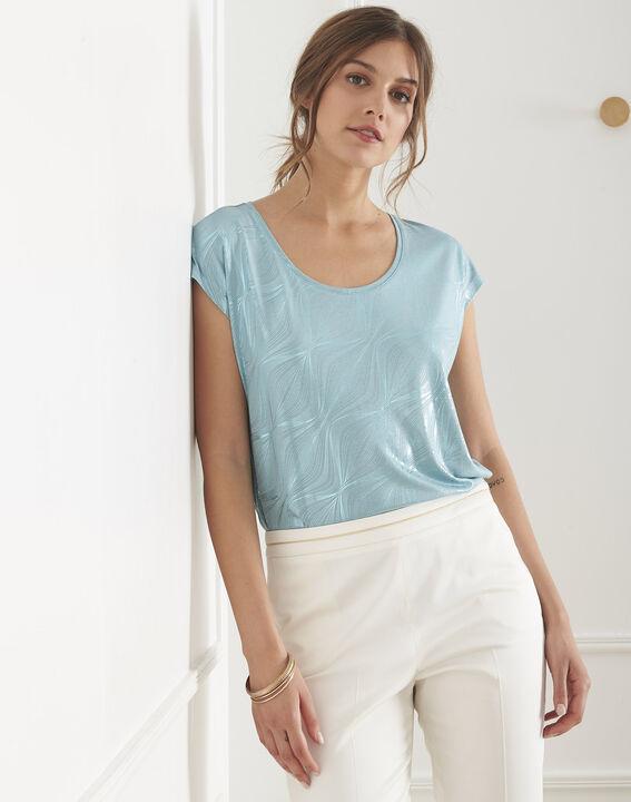 Blaues T-Shirt mit Print glänzend Party PhotoZ   1-2-3