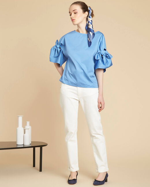 Garibaldi sky blue blouse with decorative sleeves (2) - 1-2-3