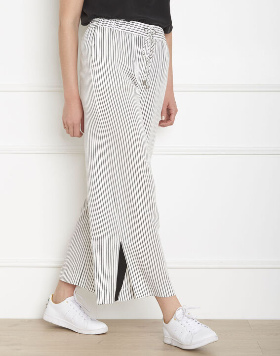 Pantalon blanc large rayé Goyave (1) - Maison 123