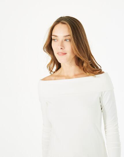 Tee-shirt blanc cassé col fantaisie Bardo (4) - 1-2-3