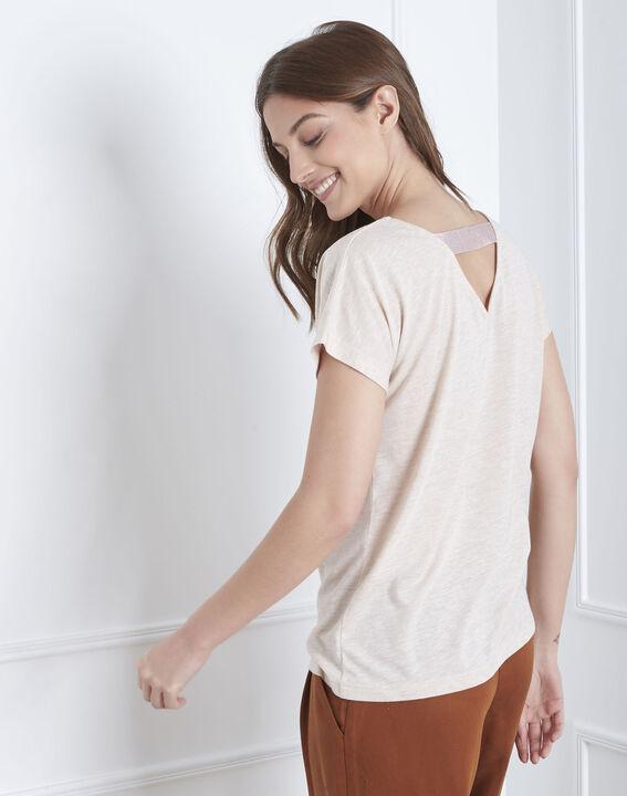 Beigefarbenes T-Shirt mit Feder-Stickerei Pandore (4) - Maison 123