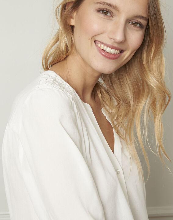 Ecru blouse van viscose met V-hals Valda (4) - Maison 123