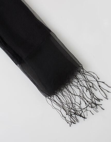 Maeva black silk stole PhotoZ | 1-2-3