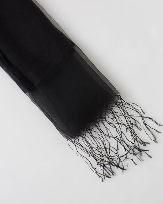 Maeva black silk stole (2) - 1-2-3